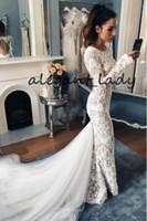 Moderne Meerjungfraustrand Brautkleider mit langem Ärmel 2019 Juwel Hals volle Spitze Perlen Trompete Backless Brauttanzkleid