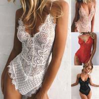 Yaz Seksi Katı Lingerie Dantel Elbise Halter Boyun Babydoll Bayan İç Kıyafeti Pijama Teddies Bodysuit Sıcak
