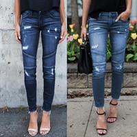 Frauen dünne zerrissenen Jeans-Hosen Cassic Bule Cowboy-Hosen-beiläufige Reißverschluss mit hohen Taille Stretch dünne Bleistifthose Freies Verschiffen