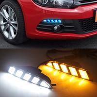 1 par LED DRL luz corriente diurna con convertir la señal amarilla para Volkswagen Scirocco 2011 2012 2013 2014 2015