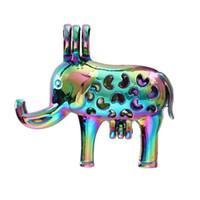 Ciondolo Cage colore dell'arcobaleno creativo Elephant perla per Aroma diffusore del profumo Medaglioni essenziale olio collana che fanno gli