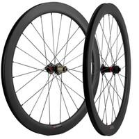 700C carbone roues 50mm profondeur 25mm Largeur UD Mat pneu disque de frein Route Vélo Vélo Roues essieu Thru / QR brochettes