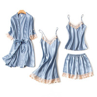 Donne biancheria intima Sleepwear Set 4pcs Primavera Autunno Sling Sling Satin Elegante Sexy Lingerie Lace Top Seta Maniche lunghe Pigiama Pigiama Femme Robe
