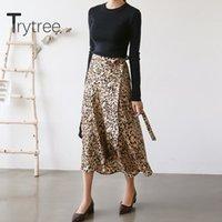 Юбки Trytree 2021 летняя женщина повседневная юбка леопардовый печать нерегулярные моды A-Line Chiffon шнурок вверх винтажный элегантный набор