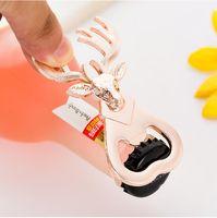 Düğün Souveniers Şişe Açıcı Geyik Kafa Parti Altın Şişe Açıcı doğum günü partisi Giveaway Kişiselleştirilmiş Hediye İçin Baby Shower Yana