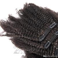 Clip in peruanischen Afro verworren Curly Virgin Natural Black Menschenhaar-Webart-Klipp in der Haar-Verlängerung 100g 120g 140g 160g