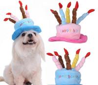 Caps für Hunde Haustier Hund Katze Geburtstag Caps Hut mit Kuchen Kerzen Design Geburtstags-Party-Kostüm Kopfbedeckung Zubehör Waren für Hunde 10pcs / lot G847