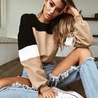 2019 kadınlar giysi tasarımcısı Sonbahar ve Kış Moda Kravat Dikiş Uzun kollu Yuvarlak yaka hoodies kadın hoodie için Üst WGWY179