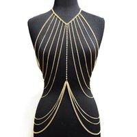 Seksi Lady Katmanlı Crossover Vücut Zinciri Altın Rengi Çok Katmanlı Püskül kolye Bikini Bel Göbek Zinciri Boho Plaj Vücut Takı