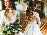 새로운 도착 저렴한 컨트리 스타일 비치 라인 웨딩 드레스 보헤미안 레이스 아플리케 BOHO 웨딩 드레스 신부 가운 가운 드 마리레
