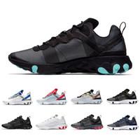 Novo Jade Grid Pacote Taped Costuras Reagir Elemento 55 Mulheres Homens tênis de corrida Designer Formadores Preto Branco 55 s Sneakers Esportes 36-45