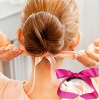 2 Size Bowknot Silk Ribbon Hair Bun Maker Multi Bud- like Sty...