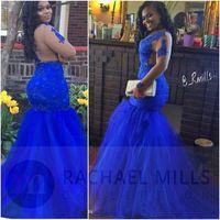 2K19 Royal Blue Africano Prom Dresses Mermaid 2019 Maniche Lunghe Backless Pizzo Abiti Da Sera Sexy Nero Ragazze Abiti Del Partito