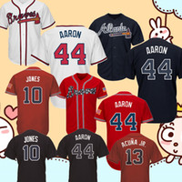 50955e617 44 Hank Aaron Atlanta Braves Jersey Red White Black 10 Chipper Jones 5  Freddie Freeman 3 Murphy 13 Ronald Acuña Jr. Baseball Jerseys
