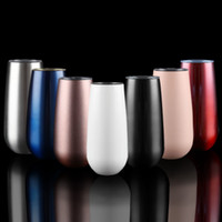 6be4f1d0597 6oz Egg Shaped Cups Wine Glasses Tumblers Stemless Stainless Steel Double  Walled Vacuum Insulated Mugs with Lid 50pcs OOA5971