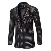 Mens New Arrival Outono Inverno Negócios do vestido Blazers Jaquetas Casacos Padrão Dot Casual Slim Fit Male Blazers Ternos Tops