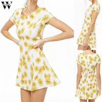 Womail summer dress sexy vestido de verão impressão floral de manga curta casual boho party holiday elegante praia slim fit dress 2019 m521
