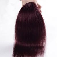 Большое продвижение 4 пачки / лот цвет бордовый прямые Малайзийские наращивание волос 99J красное вино прямые человеческие волосы Weave хорошие предложения, Бесплатная доставка DHL