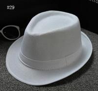 رواج رجل إمرأة قطن / كتان سترو قبعات لينة فيدورا بنما القبعات في الهواء الطلق بريم بخيل قبعات 28 الألوان اختر