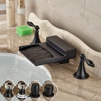 Black Double Handle Basin Faucet Tap Deck Mounted Wide Water...