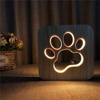 Cat pata lâmpada de mesa criativa novidade madeira maciça madeira escultura lâmpada de mesa quente usb fonte de alimentação oco 3d luzes noite