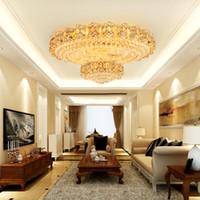 Avrupa Kristal Tavan Işıkları Fikstürü LED Lambaları Yuvarlak Modern Altın Tavan Işık Ev Kapalı Aydınlatma 3 Beyaz Renkler Dim