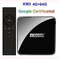 Mecool KM3 Android 9.0 TV Box de entrada do Google Voice Certificado 4GB DDR4 64GB Amlogic S905x2 2.4G 5G Wifi BT4.2 Set Top Box