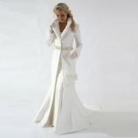 Moderne lange Ärmel Winterhochzeit Bridal Wrap mit Pelzbodenlangen Schärpe Perlen Bodenlänge plus Größe Hochzeit Brautkleid 2020