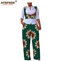 Осенние женские 2 штуки костюм африканский печать афривористый без рукавов короткий жилет + полнометражный вскользь женские хлопковые костюм A722645