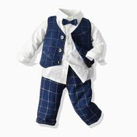 Fall Baby Boy Sets Kleinkind Kinder Revers Langarm Hemd + Plaid Weste Outwear + Gitter Hosen 3 stücke Jungen Leistung Kleidung J0591