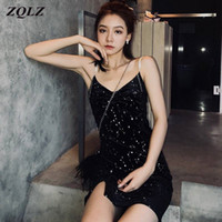 ZQLZ Summer Dress 2020 New Sequins Spaghetti Strap Sleeveles...