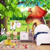 Dropship personalizzato 3D Poster Wallpaper Cartoon Forest Mushroom House murale Asilo bambini in camera da letto decorazione della parete carta da parati Rotolo