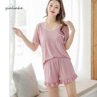 여성용 잠옷 LiiUndr 플러스 사이즈 느슨한 세트 Pijamas 여성 반소매 백리스 나이트웨어 모달 여름 홈 착용 탑스 슈트 복장