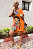 Подсунуть Африканского девушка печати платье многоцветной дополнительно женская повседневная платье комплект головы шею футболка платье большой размер:S-5XL замыкают