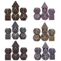 Métal dés D4 D6 J8 D10 D% D12 D20 7pcs / set pour Donjons et Dragons RPG MTG Jeux de société (Cuivre Antique, Or, Argent)
