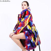 Pelliccia femminile Faux AremomuWha Cappotto lungo Plus Size Color Caldo Colore Falso Verniciatura Corrispondenza Inverno Donne Inverno QX1161