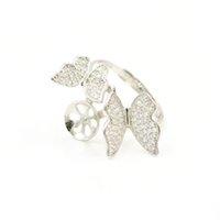 S925 стерлингового серебра кольцо крепления двойной бабочка Циркон кольцо крепления для женщин ювелирные изделия из жемчуга diy бесплатная доставка регулируемый открытие кольцо