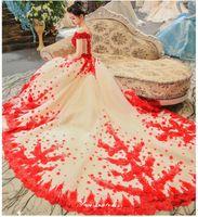 2020 Новый Китай Красный с плеча роскошное свадебное платье Princess цветок кружева с поездами свадебное свадебное платье халат де Марие