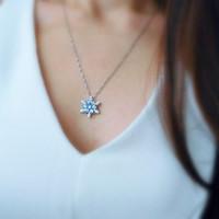المجمدة الأحجار الكريمة الطبيعية قلادة الفضة مطلي الزركون كريستال ندفة الثلج قلادة هدية عيد الميلاد قلادة