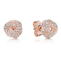 18k Rose Gold Knot Stud Brinco Caixa Original para Pandora 925 Prata Crystal CZ Diamond Brincos Conjunto para Mulheres Presente de Casamento