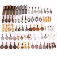 100pcs tibetansk stil legering lim på platt pad bails rektangel form pendants charms kontakthängare för smycken