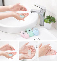 50pcs / caja de papel desechable en caja de jabón de viaje portátil de mano de lavado Hojas Box Mini perfumado rebanada de papel del jabón
