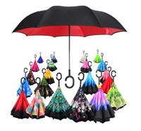 85Colors Reverse Paraguas plegable de doble capa C Handle Paraguas Unisex invertido Mango largo A prueba de viento Rain Car Umbrellas Regalos 111