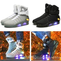 2019 Mag Marty McFlys Sneakers LED Back To The Future Glow In The Dark Boots superiore grigio / nero del caricatore Mag Casual Shoes