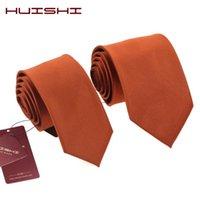 Neck Tie Set Huishi Fashion Man Classic Dark Orange 6 cm 8cm Gestreepte Geweven Waterdichte Business Bruiloft Casual Stropdas