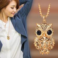 Pull chaîne diamant pendentif chouette longue chaîne de diamant Colliers Femme Bijoux de luxe de Bijoux Collier Femme