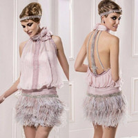 Gatsby le magnifique court robes de cocktail avec plumes col montant Sparkly perles Backless Rose Prom Party Robes de cérémonie plus robe de bal
