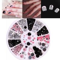 1 Box Tre-Color Mixed Drill 3D Nail Acrylic Wheel Nail Stickers Dekoration DIY Art Tips Smycken Rhinestones Manicure Tool