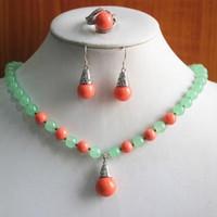 presente conjunto de jóias! atacado, preço de fábrica mulheres luz verde Natural jade vermelho / pérola colar brinco anel (/ 7/8/9) conjunto
