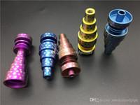 renkli Evrensel 6in1 Kubbesiz Titanyum GR2 Çiviler 10mm 14mm 18mm Cam Bongs Su Boru Ortak Erkek Kadın Kubbesiz GR2 Titanyum Çiviler